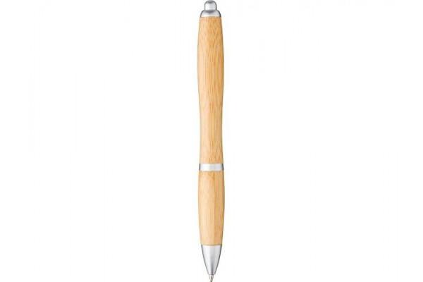 Шариковая ручка Nash из бамбука, натуральный/серебристый