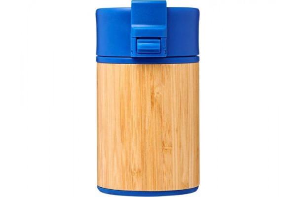Вакуумный герметичный термостакан Arca с покрытием из меди и бамбука 200мл, синий