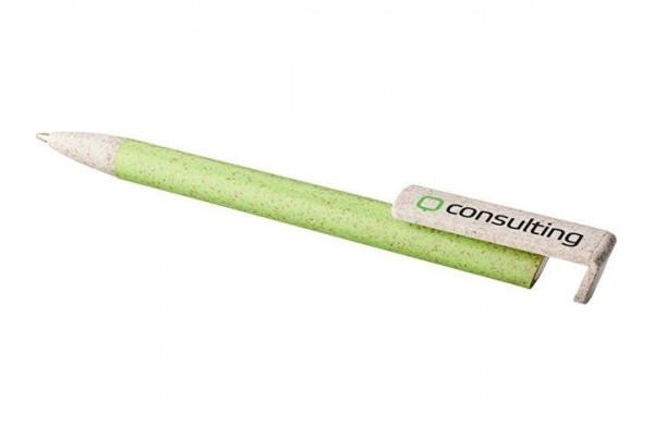 Шариковая ручка и держатель для телефона Medan из пшеничной соломы, зеленое яблоко