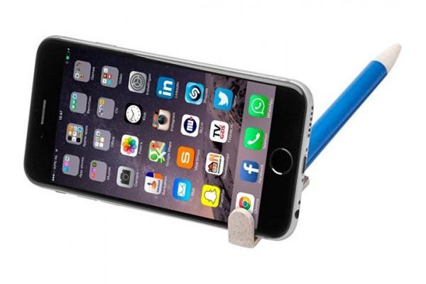 Шариковая ручка и держатель для телефона Medan из пшеничной соломы, cиний