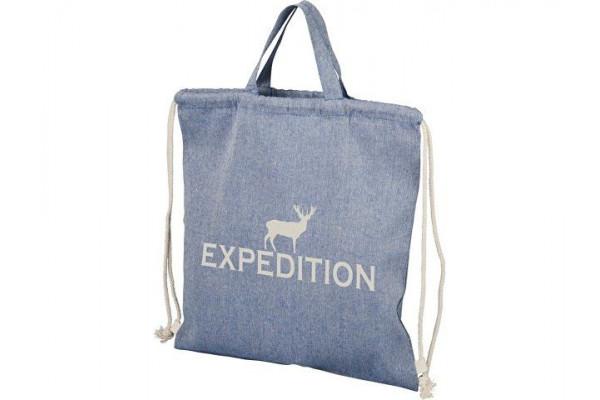 Рюкзак со шнурком Pheebs из 150г/м² переработанного хлопка, синий