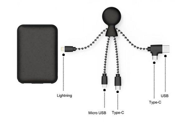 Портативное зарядное устройство BioPack c кабелем Mr. Bio, 5000 mAh, черный