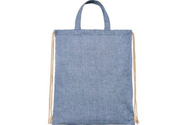 Рюкзак со шнурком Pheebs из 210г/м² переработанного хлопка, синий