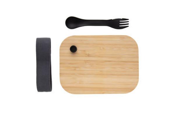 Стеклянный контейнер для еды с бамбуковой крышкой