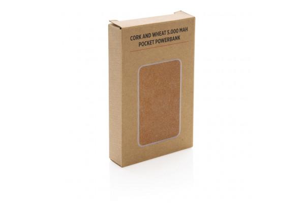 Карманный внешний аккумулятор из пробки и пшеничной соломы, 5000 мАч