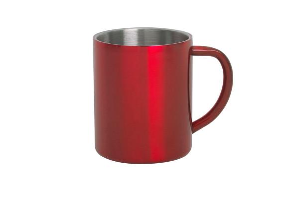Кружка YOZAX; 280 мл; красный, нержавеющая сталь; лазерная гравировка