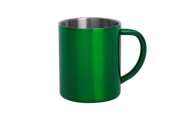 Кружка YOZAX; 280 мл; зеленый, нержавеющая сталь; лазерная гравировка
