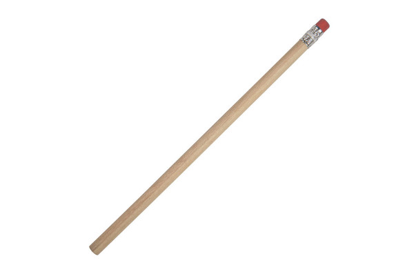 Карандаш простой TOGI с ластиком, красный, 19см, дерево