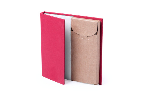Набор LUMAR: листы для записи (60шт) и цветные карандаши (6шт), красный, картон, дерево