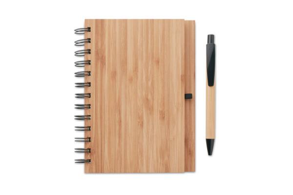 Бамбуковый блокнот с ручкой