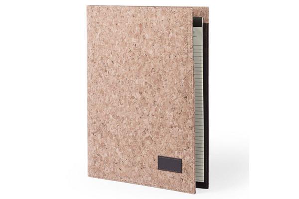 Папка HOYEB A4 с бумажным блоком, пробковая ткань, бежевый