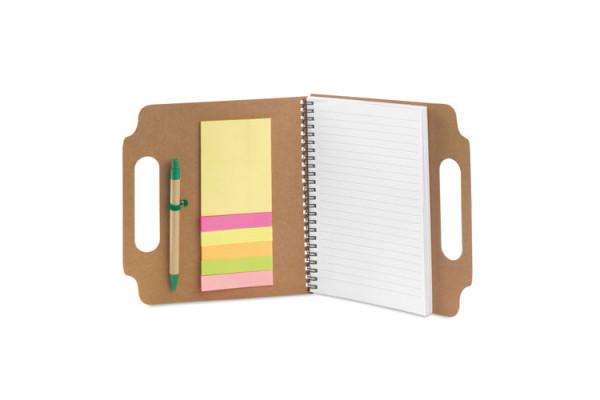 Блокнот MAKRON A5 на пружине с шариковой ручкой, рециклированный картон, бежевый