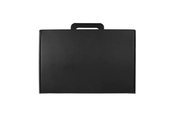 Коробка с ручкой подарочная, размер 37x25 x10 см,24x 36x 10 см, картон, самосборная, черная