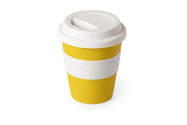 Стакан FLIKER с крышкой, желтый, 380мл,11,4х9,5см,полипропилен с бамбуковым волокном,силикон