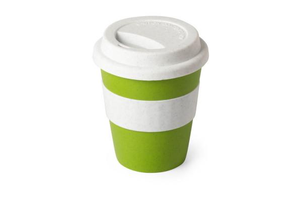 Стакан FLIKER с крышкой, зеленый, 380мл,11,4х9,5см,полипропилен с бамбуковым волокном,силикон