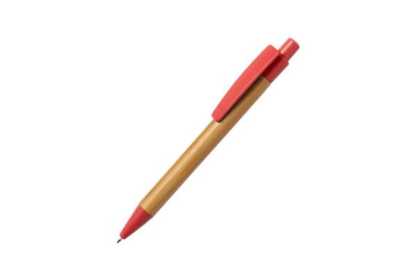 SYDOR, ручка шариковая, красный, бамбук, пластик с пшеничной соломой