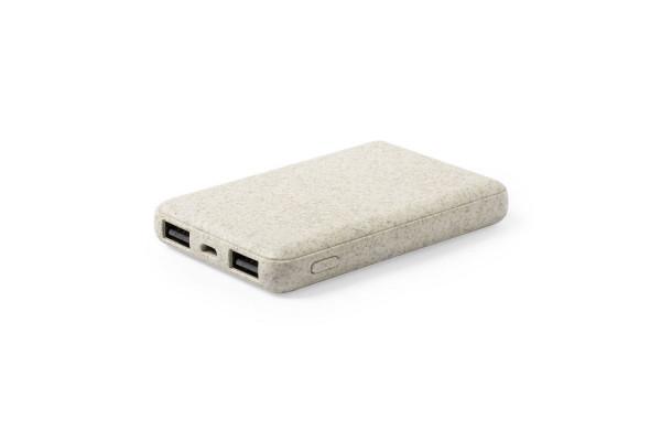 Универсальный аккумулятор SHIDEN, пластик с пшеничным волокном, 5000мАч, бежевый