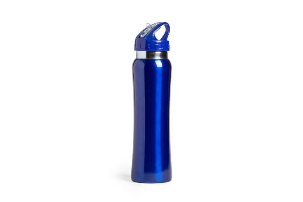 Бутылка для воды SMALY с трубочкой, синий,  800 мл, нержавеющая сталь