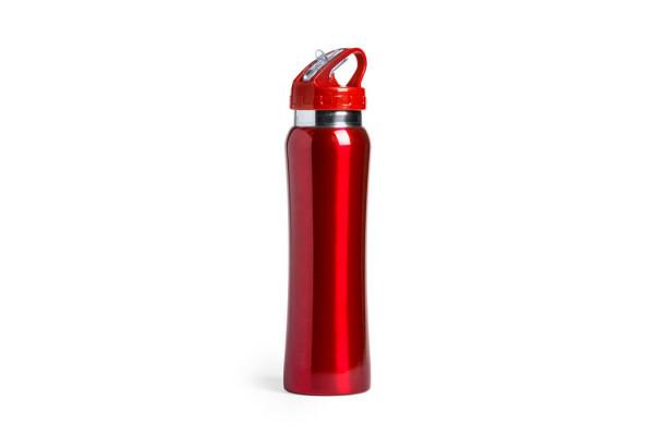 Бутылка для воды SMALY с трубочкой, красный, 800 мл, нержавеющая сталь