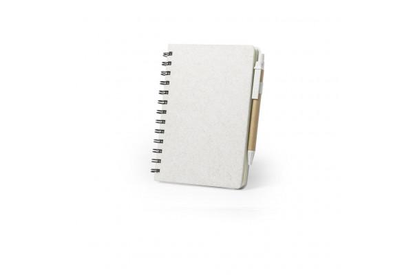 Набор GLICUN: блокнот B6 и ручка, рециклированный картон/пластик с пшеничным волокном, бежевый