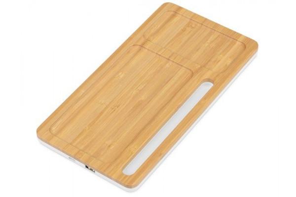 Беспроводное зарядное устройство-органайзер из бамбука Timber, натуральный/белый