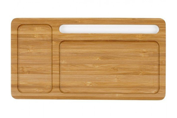 Беспроводное зарядное устройство-органайзер из бамбука Timber, темно-натуральный/белый