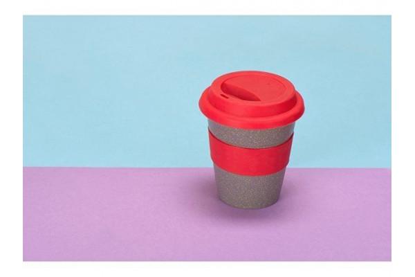 Стакан с силиконовой крышкой Café, красный