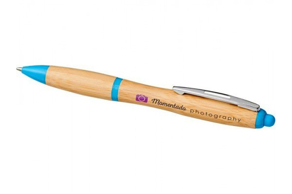 Шариковая ручка Nash из бамбука, натуральный/голубой