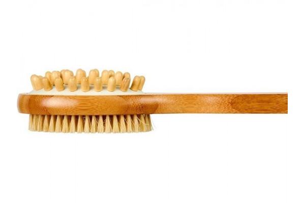 2-сторонняя щетка Orion из бамбуковой древесины для душа и массажа, натуральный
