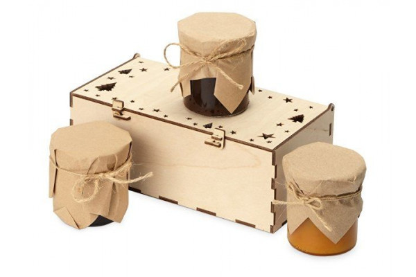 Подарочный набор с тремя видами варенья в деревянной коробке Trio Sweet