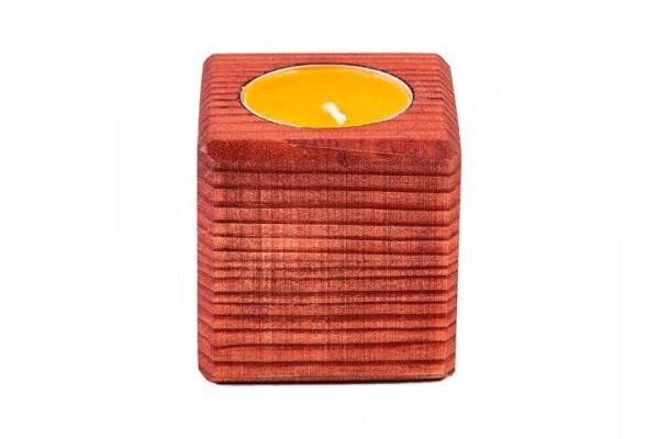 Свеча в декоративном подсвечнике, красн. дерево, апельсин