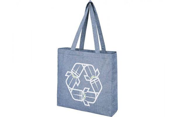 Эко-сумка Pheebs с клинчиком, изготовленая из переработанного хлопка, плотность 210 г/м2, синий