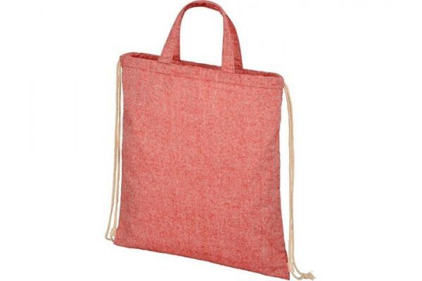 Рюкзак со шнурком Pheebs из 210г/м² переработанного хлопка, красный яркий