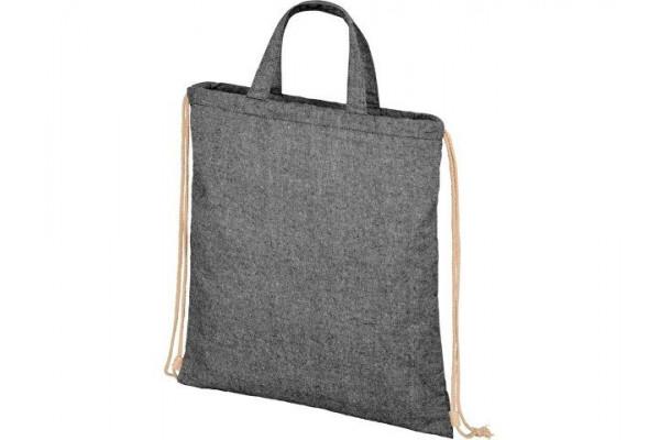 Рюкзак со шнурком Pheebs из 210г/м² переработанного хлопка, черный