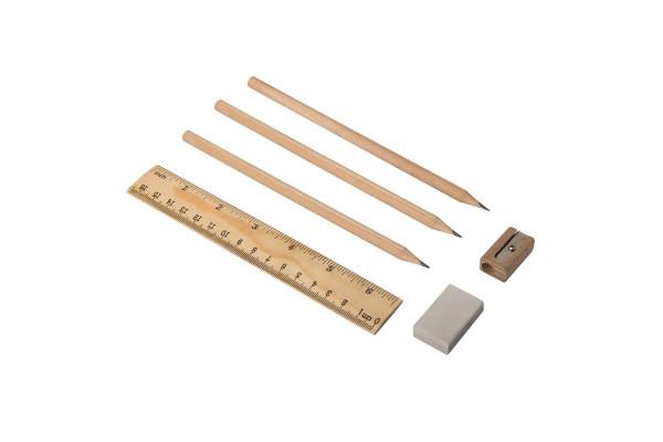 Канцелярский набор DONY -  карандаши, линейка, точилка, ластик, дерево/переработанный картон
