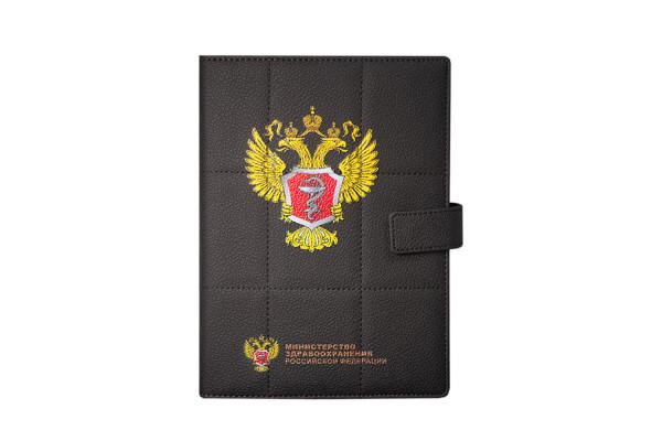 Ежедневник-портфолио Royal, коричневый, эко-кожа, недатированный кремовый блок, серая подарочная коробка