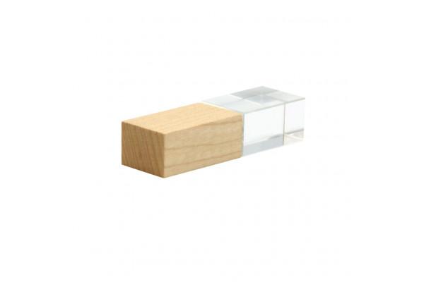 Флешка Кристалл Bamboo 16 Гб с белой подстветкой