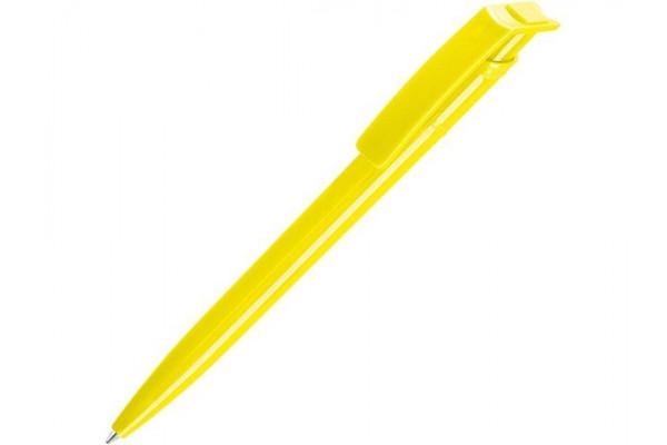 Ручка шариковая пластиковая RECYCLED PET PEN, синий, 1 мм, желтый