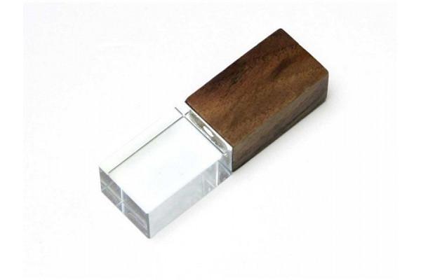 USB-флешка на 32 Гб прямоугольной формы, под гравировку 3D логотипа, материал стекло, с деревянным колпачком красного цвета, синий
