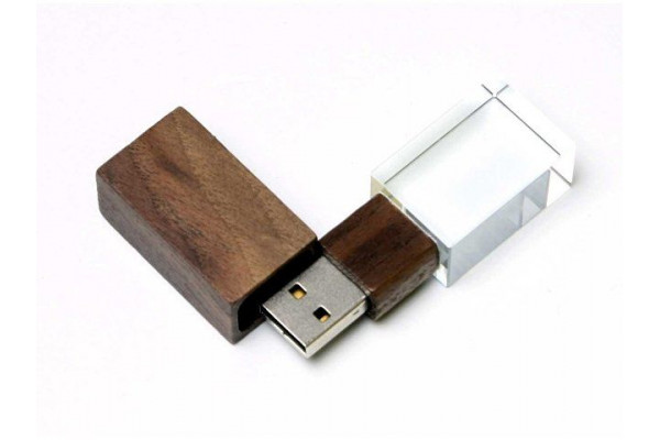 USB-флешка на 64 ГБ прямоугольной формы, под гравировку 3D логотипа, материал стекло, с деревянным колпачком красного цвета, белый
