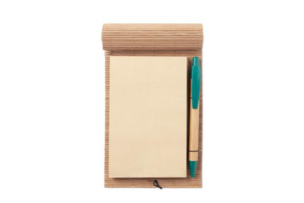 Блокнот бамбуковый с ручкой