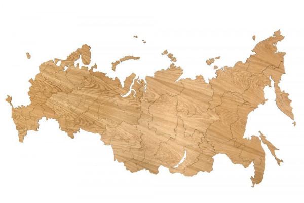 Деревянная карта России, дуб