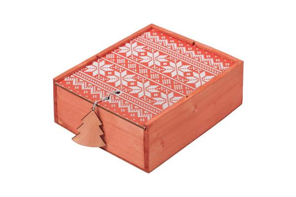 Коробка деревянная «Скандик», средняя, красная