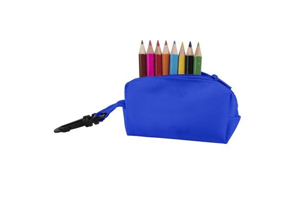 Набор цветных карандашей (8шт) с точилкой MIGAL в чехле, синий, 4,5х10х4 см, дерево, полиэстер