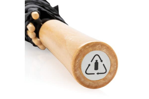 Автоматический эко зонт-антишторм из RPET 23 чёрный