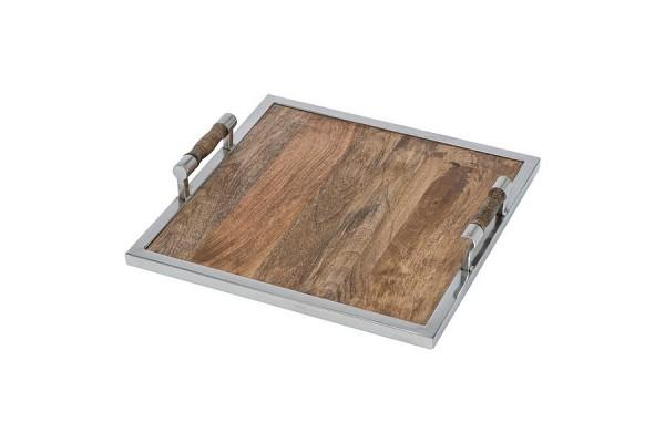 Деревянный поднос с ручками, квадратный. (коричневый)
