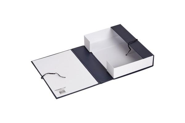 Короб архивный, разборный, бумвинил/картон, на 2-х завязках, 200 мм кор., 320х200х242 мм, черный цв., ФЕНИКС, пакет