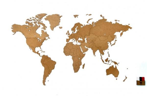 Деревянная карта мира World Map Wall Decoration Medium, коричневая