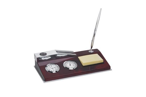Набор настольный.Часы-термометр  с ручкой, бумагой для записей и подставкой для визиток, цвет коричневый