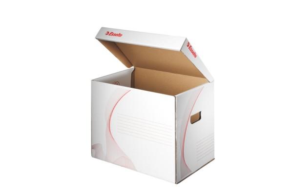 Короб архивный с крышкой, разборный, картон, без застежки, 302x280х398 мм, белый цв., ESSELTE, STANDARD, пакет